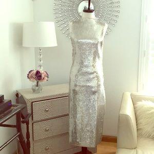 Zara long sequin silver dress S